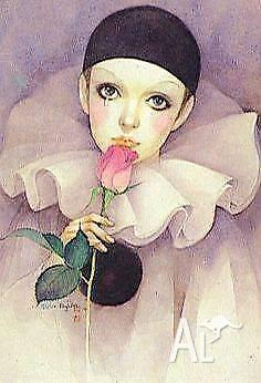Block Mounted Print - Sad Pierrot - 1983 - by Mira