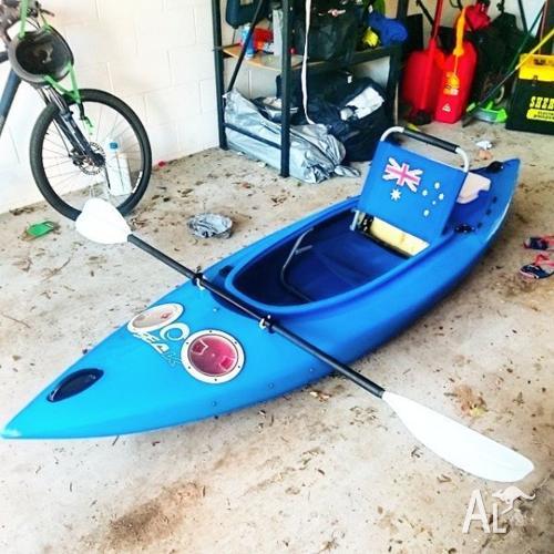 Blue Sit-In Seak kayak, modified.