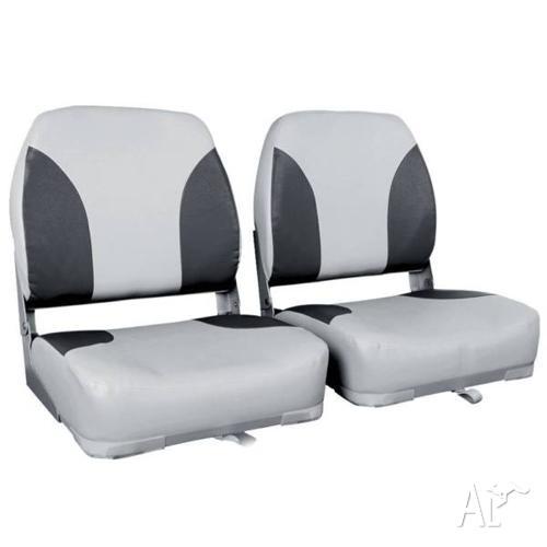 Boat Seats x 2 Swivel Folding Premium Moulded Pastic UV
