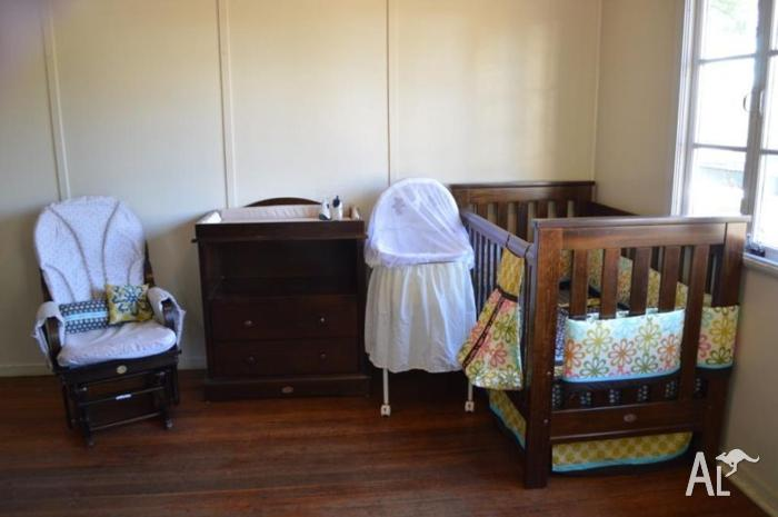 Boori Cot Change Table Drawers Rocking Chair