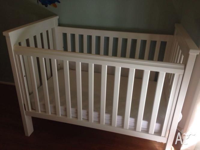 Boori Pioneer White Cot Toddler Bed & Mattress