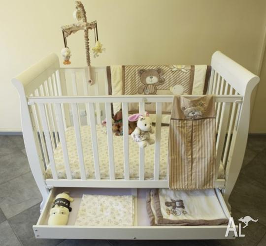 Brand New Wooden Baby Cots Plus Underneath Drawer