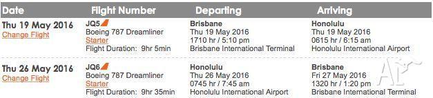 Brisbane to Honolulu flights (Name change included)