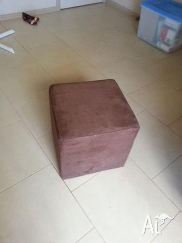 Brown fabric ottoman
