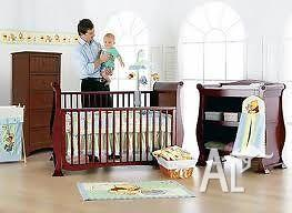 Bruin 3 In 1 Sleigh Cot/ Toddler Bed, Change Table,