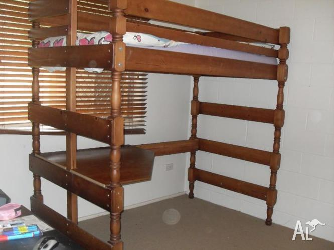 Bunkers loft bed with quad desk and matress for Sale in