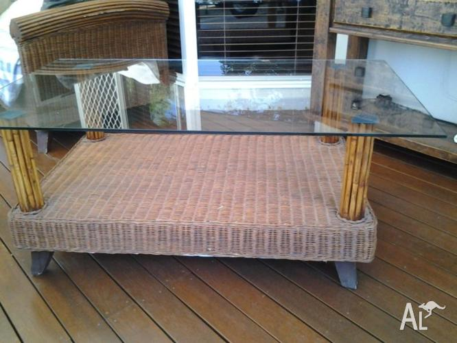 CANE GLASS TOP COFFEE TABLE