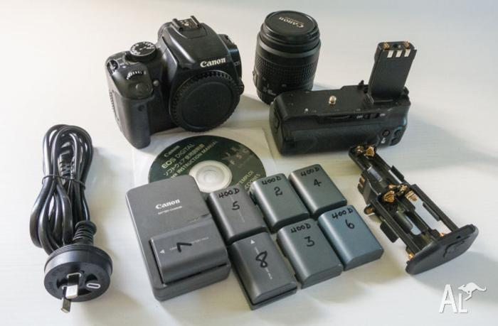Canon EOS 400D with Battery Grip and Lens