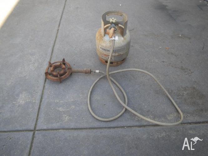CAST IRON RING BURNER HOSE REGULATOR FULL LPG GAS