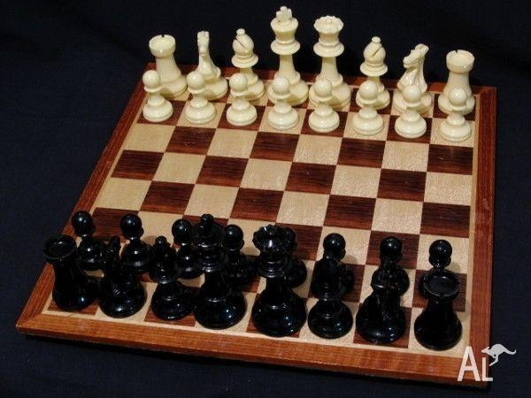 Chess Set - Large Plastic Pieces with Wooden Board