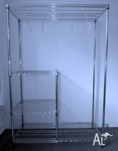 Chrome wire wardrobe with combined long and short hang