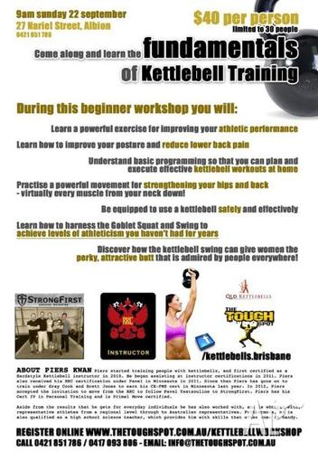 Come along and learn the fundamentals of Kettlebell