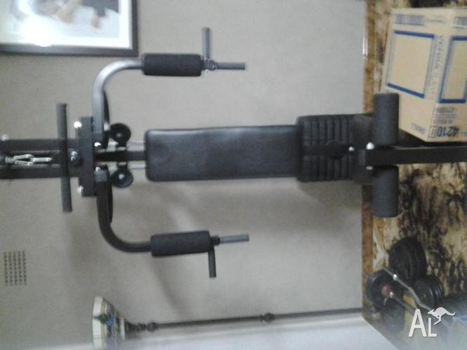 Complete home gym set free weights and bench press for sale in