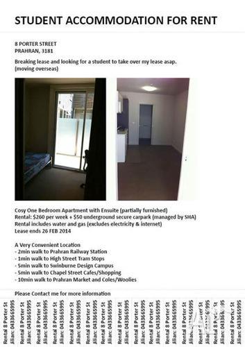 Cosy One Bedroom Student Apartment in Prahran