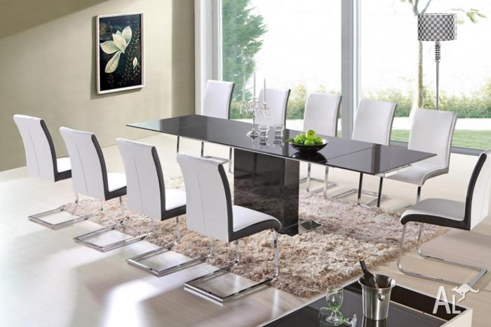 Dining Table Extendable Black Glass Brand New