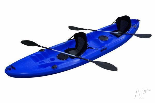 Double Kayaks including 2 seats and 2 paddles, Blue or