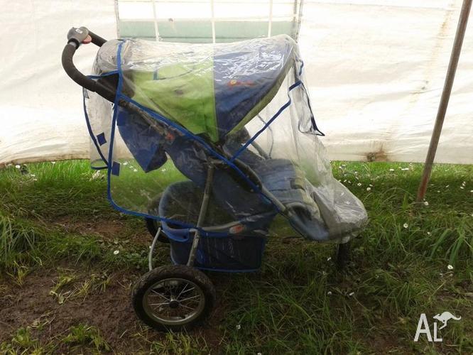 Ebaby Green/Blue Pram 3 Wheels Good Condition