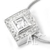 Elegant 925 Silver CZ Square Pendant