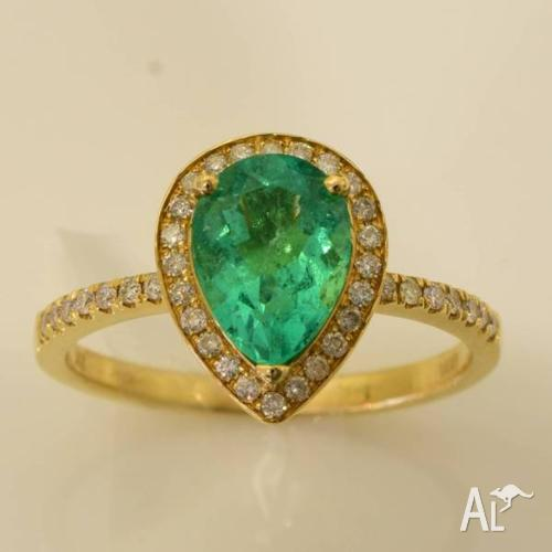 Emerald diamond ring and band set 18k solid gold RRV