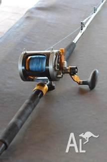 FISHING ROD AND OVERHEAD REEL.