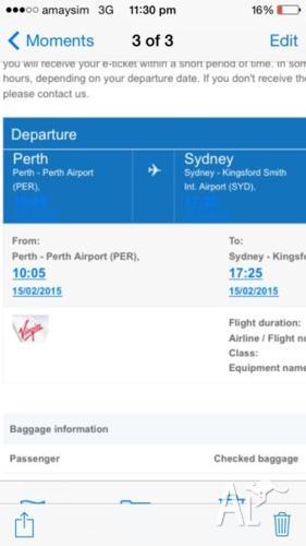 FLIGHT PERTH - SYDNEY