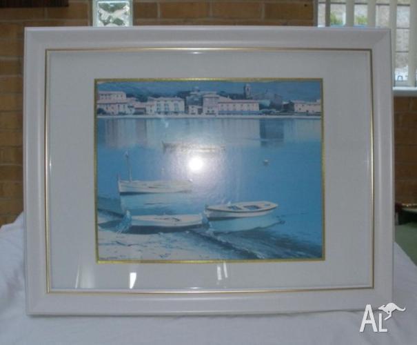 Framed Print - seaside, boats - beach house look