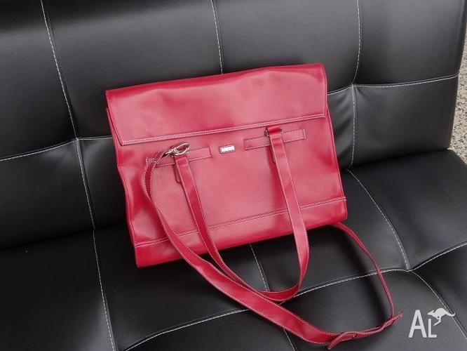 Genuine red leather laptop bag