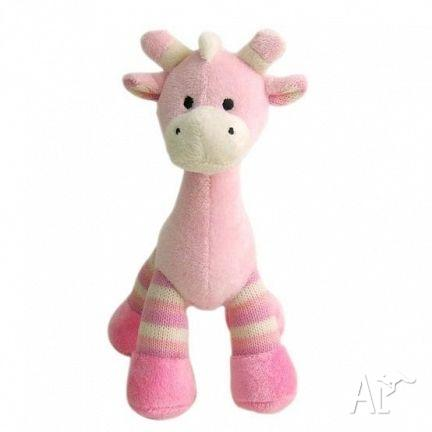 Giraffe Thomas with Rattle 23cm. BLUE/PINK