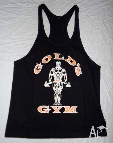 GOLDS GYM MENS STRINGER SINGLET black gold OLD SKOOL