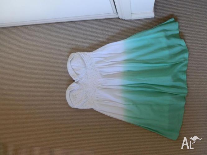 Green/White Strapless Dress