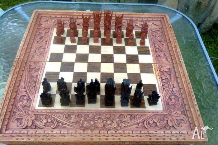 hand carved indonesian chess set and board