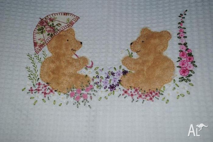 Hand Embroidered Baby Blanket For Sale In Mayfield New