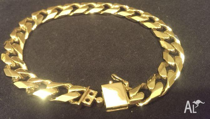 Heavy Mens Gold Bracelet Extra Security Double Lock