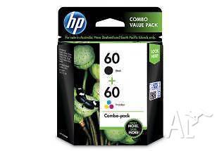 HP 60 Black/Tri-Colour Ink Cartridge Combo Pack - Brand