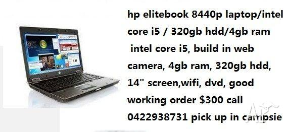 hp elitebook 8440p laptop/core i5 /4gb ram/320gb