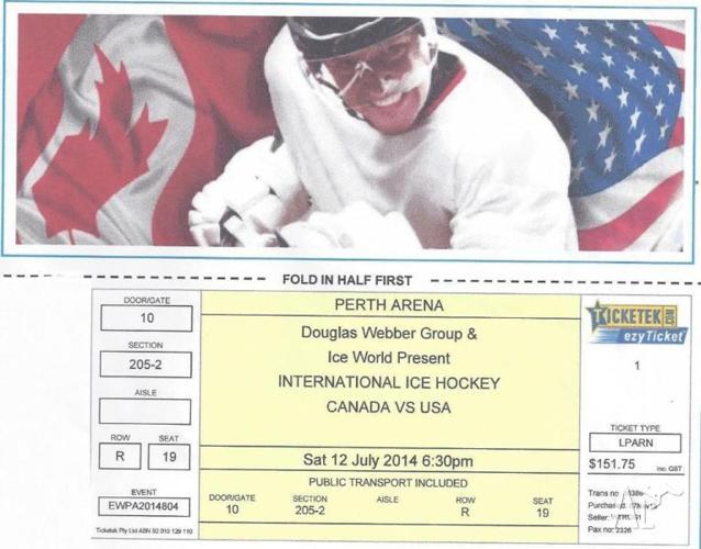Ice Hockey Canada vs USA July 12 - 1 ticket