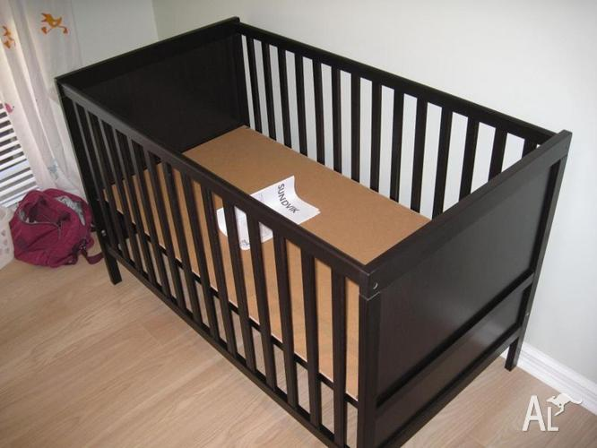ikea cot sundvik black brown for sale in mosman park western australia classified. Black Bedroom Furniture Sets. Home Design Ideas