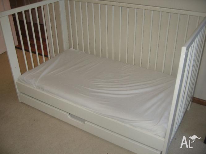 ikea gulliver cot cot mattress and under bed storage for sale in bickley western australia. Black Bedroom Furniture Sets. Home Design Ideas