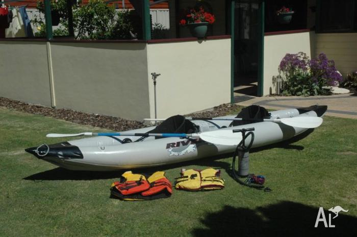 INFLATABLE 2 SEAT CANOE and gear