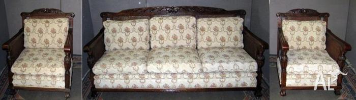 Jacobean Oak Rattan 3 Seater Lounge Sofa Two Matching
