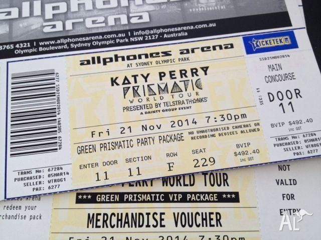 Katy perry 2x genuine green vip packages sydney 21st november for katy perry 2x genuine m4hsunfo