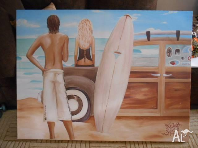 Kelly Lane Canvas of Surfer 120cm x 90cm.