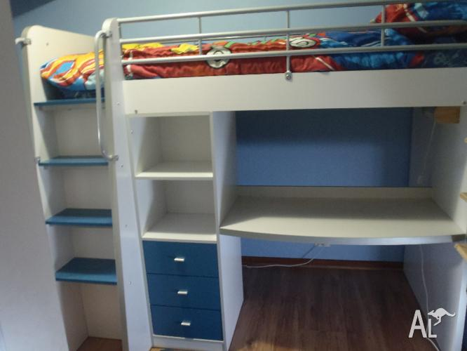 Kids Bunk Bed Desk Drawers Shelves Blue Or Purple