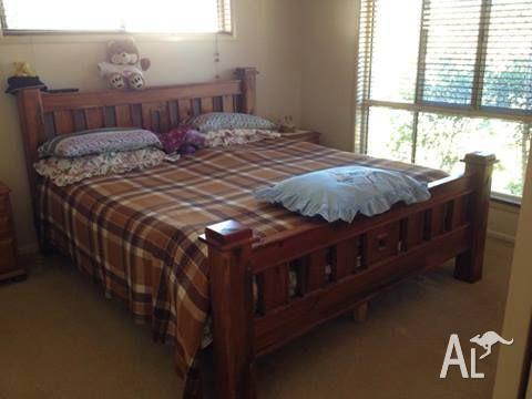 King size timber bed and mattress