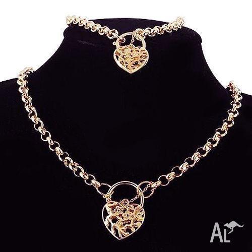 Ladies 18k Rose Gold Filled Belcher Necklace & Bracelet