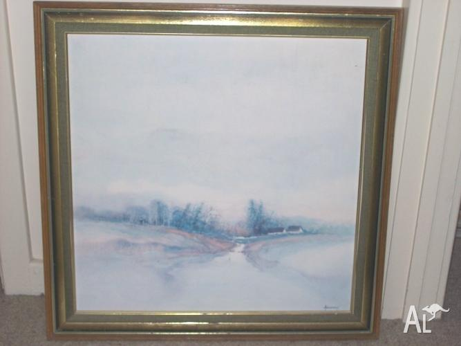 LARGE 66CM SQUARE PICTURE The Stream, Nice Wooden Frame for Sale in ...