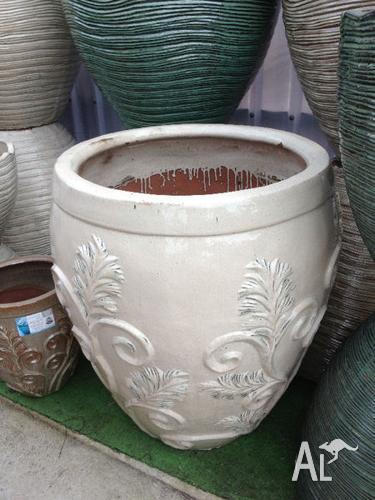 Large Outdoor Glazed Terracotta Garden Plant Pots Cream