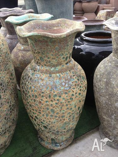 Large Tall Outdoor Garden Stone Urn Plant Pot 2 Colours