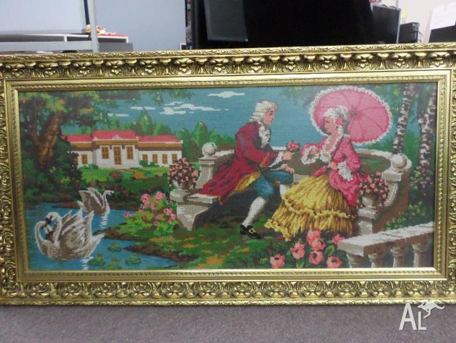 Large Tapestry Romantic Victorian Scene
