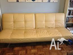leather look double sofa bed